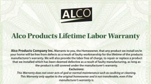 Alco Products Inc. Has a lifetime labor warranty on all of our residential remodels and installs in the Washington D.C., Maryland, and Virginia areas