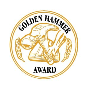 Alco Products Inc. received the Golden Hammer Award for their excellence in customer service in residential siding installations